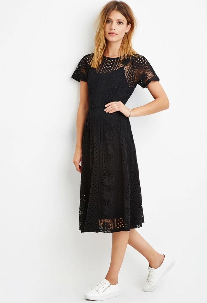 Forever 21 Contemporary Floral Crochet Midi Dress in Black ($30)