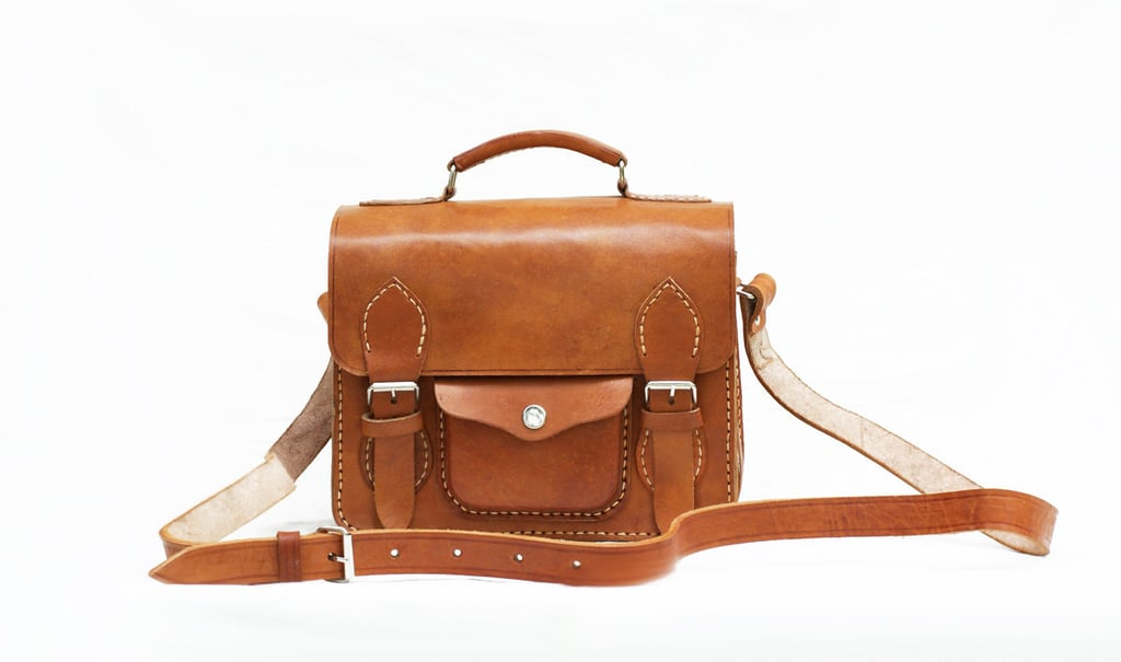 Hand-Stitched Brown Camera Bag