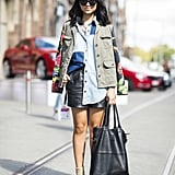 Show off your stems, but stay covered up on top with a great chambray and anorak — a leather mini furthered the outfit interest here. Source: Le 21ème   Adam Katz Sinding