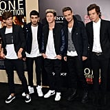 One Direction posed for pictures at the NYC premiere of their movie.