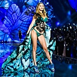 Making her debut on the Victoria's Secret runway in teal lingerie at the 2015 show.