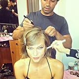 Karlie Kloss got dolled up for a Victoria's Secret appearance with mane man Harry Josh.  Source: Instagram user karliekloss