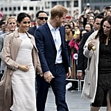 Day 14: Meghan Markle Wore a White Brandon Maxwell Dress with a Burberry Trench Coat