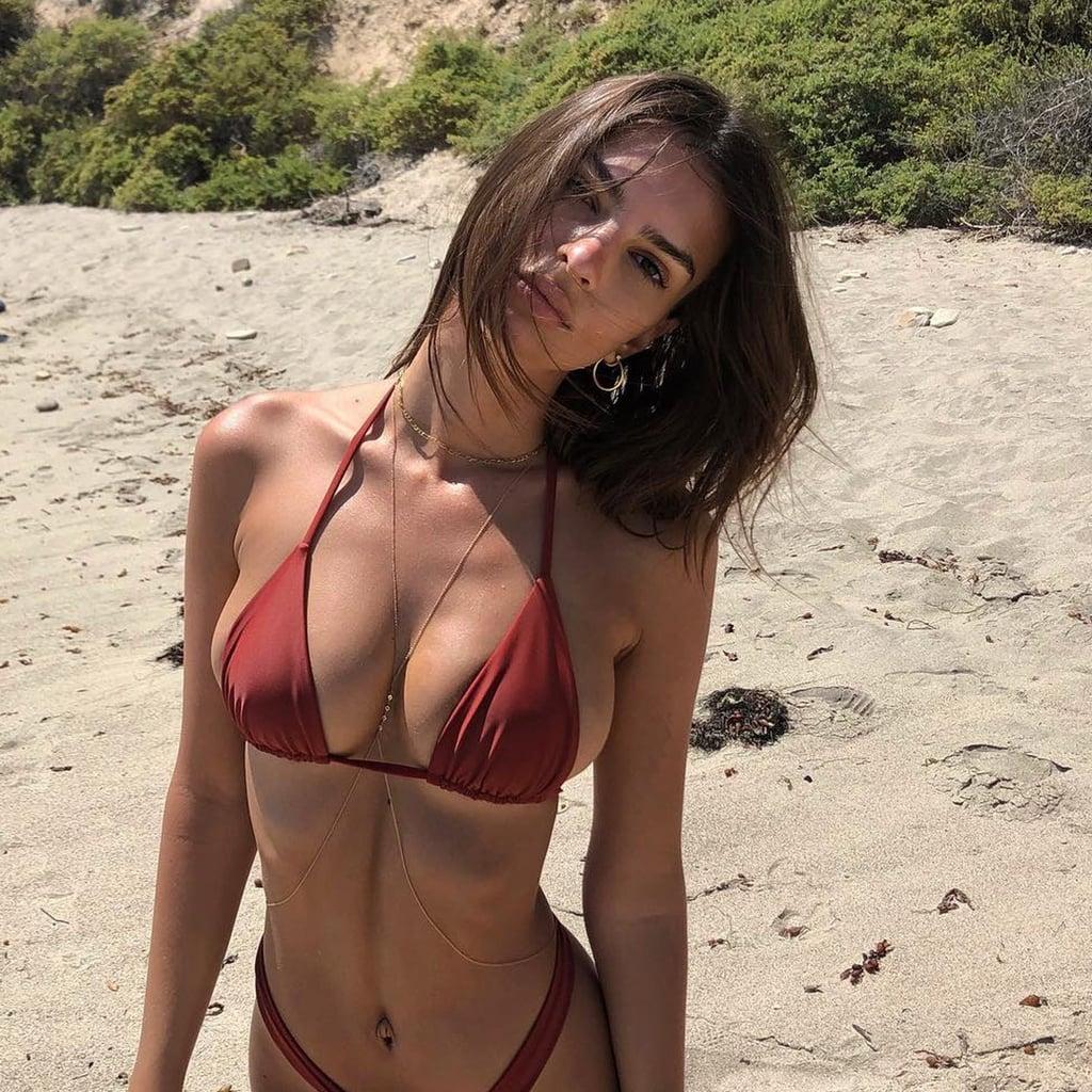 641d0528cb Emily Ratajkowski Red Bikini August 2018 | POPSUGAR Fashion