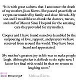 The heartbreaking statement Melissa Rivers released this morning. The world won't be the same without naughty and hilarious Joan Rivers. Source: Instagram user mornings9