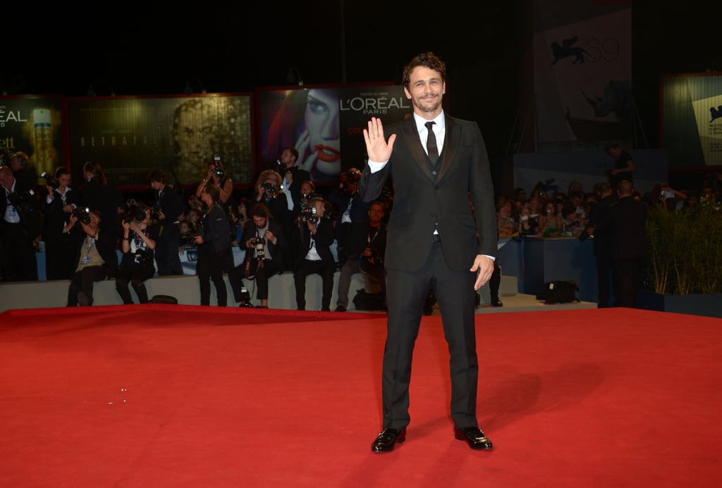 James Franco waved to photographers.