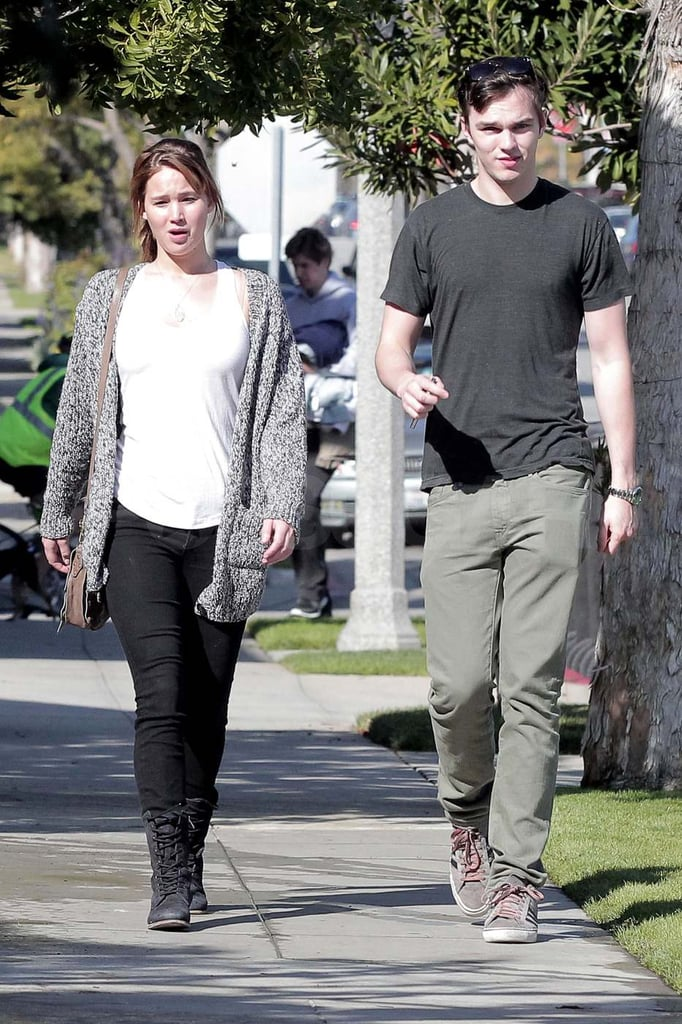 Jennifer Lawrence and Nicholas Hoult on a walk in LA.
