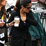Salma Hayek enjoyed a coffee on the set of Grown Ups 2 in Massachusetts.