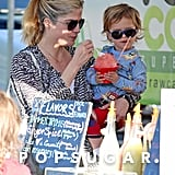 Selma Blair and her son, Arthur Bleick, split a snack at the farmers market in LA on Sunday.