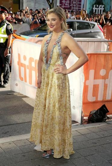 Chloë Grace Moretz Dazzles in Embellished Gold Miu Miu Gown at TIFF