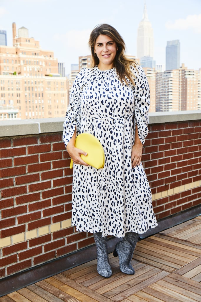 Ok, I promised a head-to-toe printed look that anyone can pull off, and here it is! A couple things make this Tibi leopard dress (available sizes 00 - 12) work, starting with the silhouette, which is basic and easy to digest. When doing a full-on printed look, a classic silhouette is always foolproof! Another tip is to look for leopard. In the world of prints, it's considered a neutral, so it's perfect for newbies. Stick with solid-colored accessories to ground the look, like this Mansur Gavriel clutch and these Eloquii over-the-knee glitter boots (available sizes 7 - 12), and you will be amazed how comfortable and normal you can feel in head-to-toe print!