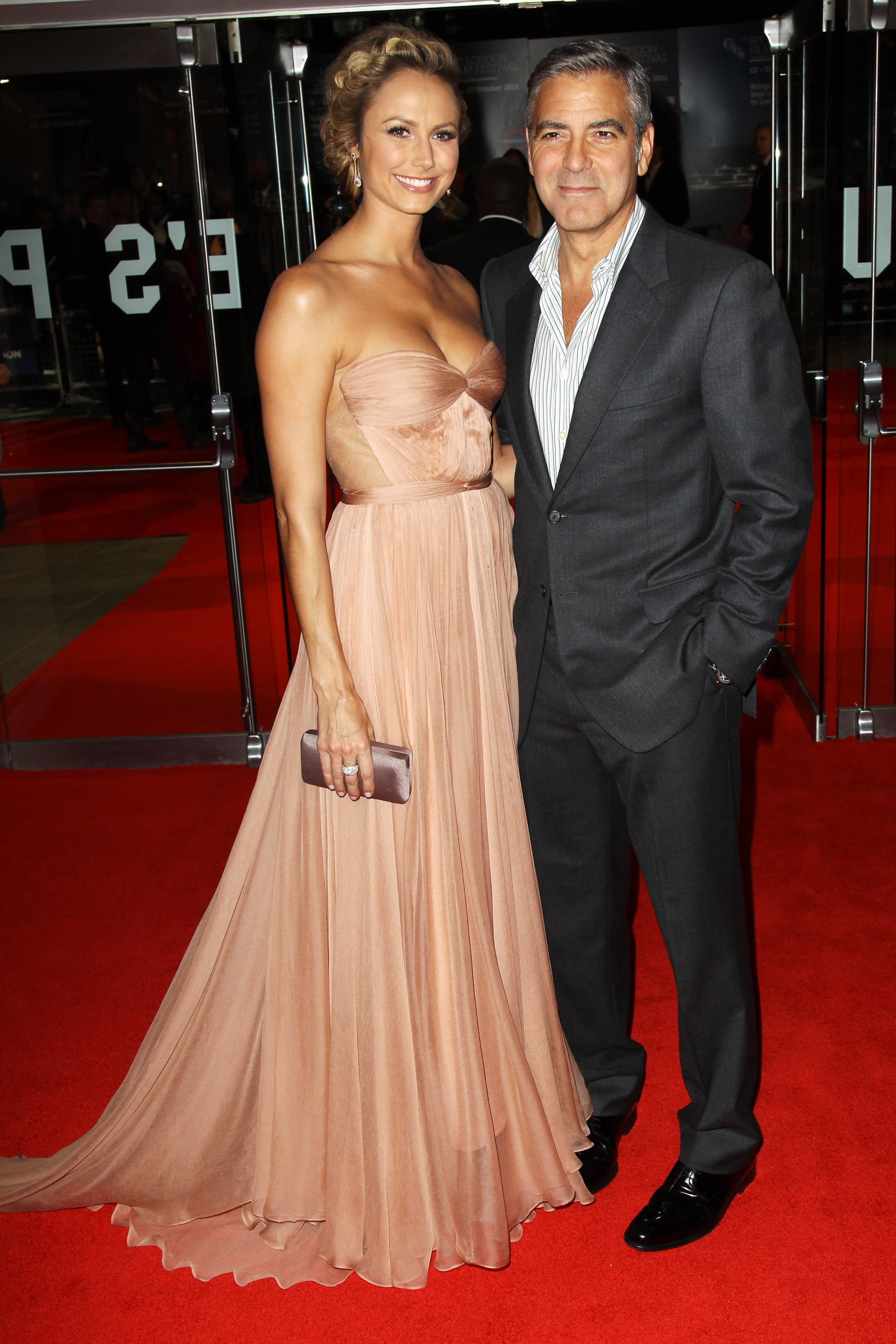 George Clooney and Stacy Keibler at the London premiere of The Descendants.