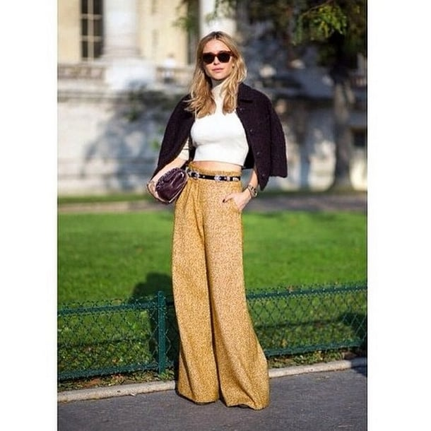Nothing helps you channel '70s vibes like an ultrawide pant in a mustard shade. The embellished belt is just the icing on the cake.