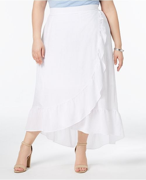 NY Collection Ruffled Wrap Skirt