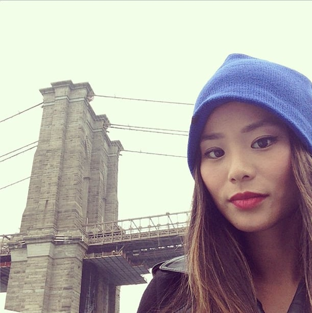 Back home in New York, Jamie Chung gave her look an urban vibe with a bright blue beanie. Source:  Instagram user jamiejchung
