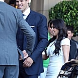 Kim Kardashian and Kris Humphries at their wedding rehearsal dinner.