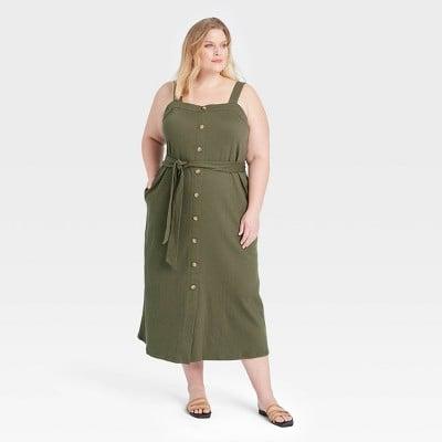 Buttoned Beauty: Ava & Viv Plus Size Knit Button-Front Dress
