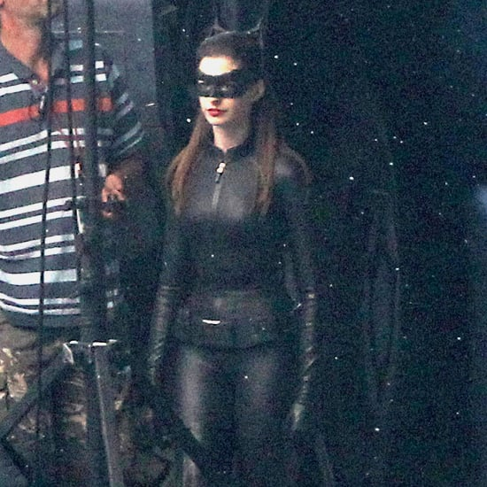 Anne Hathaway In A Catwoman Costume On Set Of Dark Knight