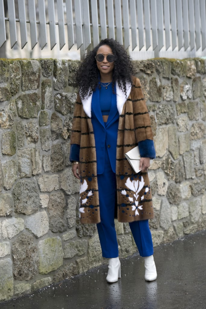 Stand Out in a Blue Suit With a Fuzzy Coat and White Boots