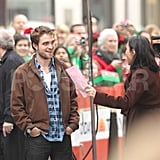 Robert Pattinson talked with Ann Curry while filming The Today Show in NYC.