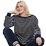 POPSUGAR Plus Size Striped Velour Top