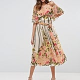 ASOS Bardot Ruffle Midi Dress