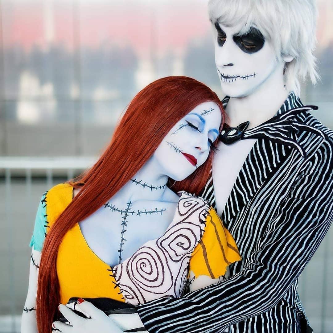 Nightmare Before Christmas Jack and Sally Halloween Makeup