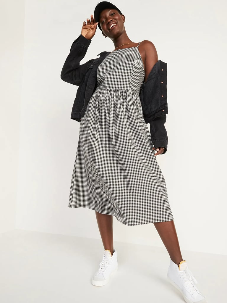 Old Navy Fit and Flare Gingham Midi Cami Dress