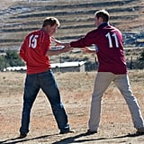 Things got competitive for the two as they played football with a group of kids during a visit to the Semongkong Children's Centre in Lesotho in June 2010.