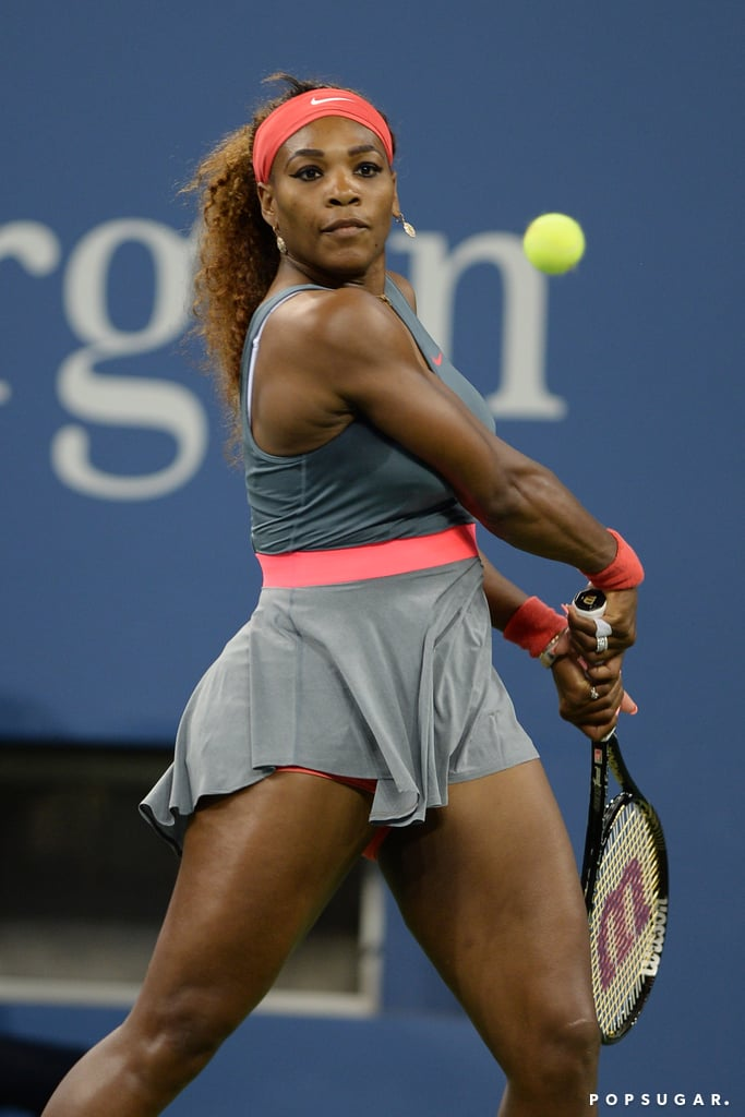 Serena Williams hit the court during day one of the US Open.