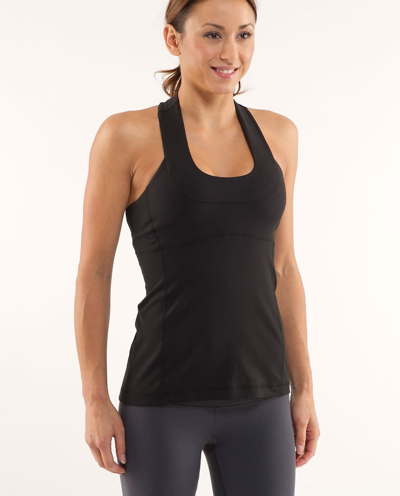Coming to yoga class rocking a loose t-shirt or tank top is not a good idea. You're definitely going to be flipped upside down for a certain portion of the time, and having to constantly tuck in your top is a big hassle. I love this Scoop Neck Tank ($52) from lululemon that offers a built-in shelf bra, a tight yet flattering fit, and straps that don't get in the way of movements.