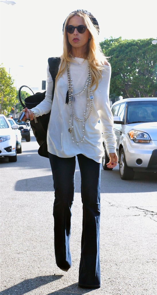 Rachel Zoe sported her signature wide-leg pants.