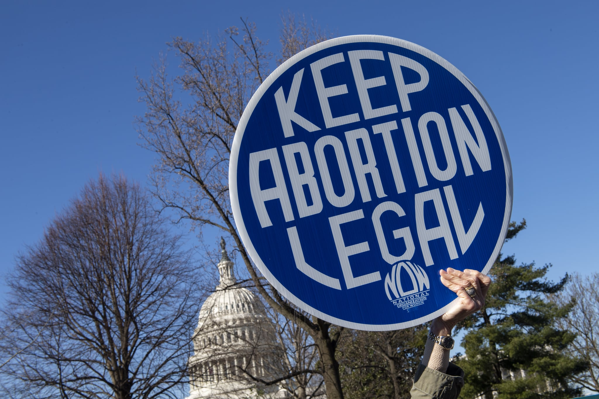 UNITED STATES - MARCH 4: Pro-choice abortion activists protest during a demonstration outside the Supreme Court in Washington on March 4, 2020, as the Court hears oral arguments regarding a Louisiana law about abortion access on Wednesday, March 4, 2020. (Photo by Caroline Brehman/CQ-Roll Call, Inc via Getty Images)