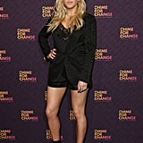 Ellie Goulding stuck to all-black Gucci, including statement-making strappy sandals.