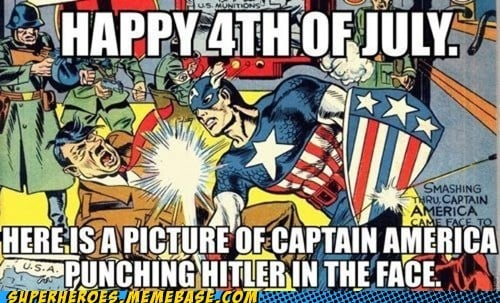 Nothing like a Hitler-Captain America fight to brighten your day.  Source: Cheezburger
