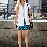 Joanna Hillman kept her colour palette simple with black and white and a pop of turquoise.