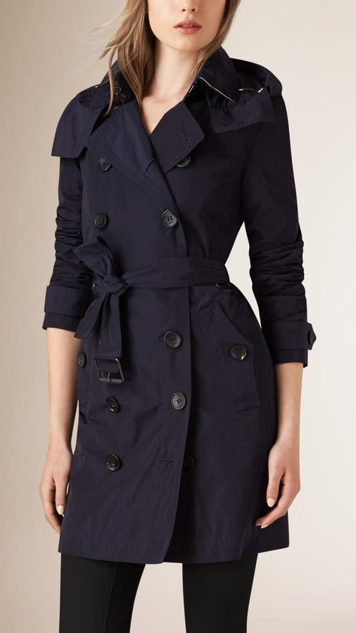 Burberry Brit Taffeta Trench Coat With Detachable Hood