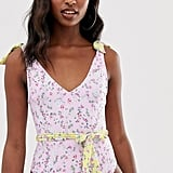 ASOS Recycled Tie-Shoulder Belted Swimsuit in Pretty Pastel Floral