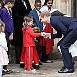 Harry Shook a Little Girl's Hand After the Commonwealth Day Service