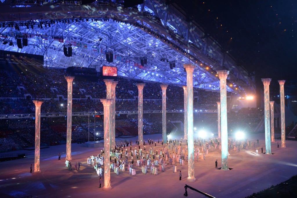 Artists performed in the huge arena.