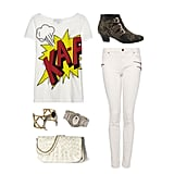We're taking our obsession with all-white ensembles to a slightly edgier degree. Just style your tee with zipped white skinny jeans, then add your own twist on tribal-infused accents. Mixed metals, exotic texture, and quirky off-white tones definitely help solidify the downtown-cool feel of the outfit. Get the look:   3.1 Phillip Lim Printed Cotton and Modal-Blend Jersey T-Shirt ($175)  Mango Slim Zipped Jeans ($70)  Jeffrey Campbell Star-Burst Ankle Boot ($188)  House of Harlow 1960 Open Weave Horn Cuff ($180)  Low Luv by Erin Wasson Afghani Engraved Cuff ($95)  Vince Camuto Kat Clutch ($158)