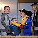 Romeo Beckham, Brooklyn Beckham, Jack Ramsay, and Cruz Beckham watched David Beckham play with the LA Galaxy.