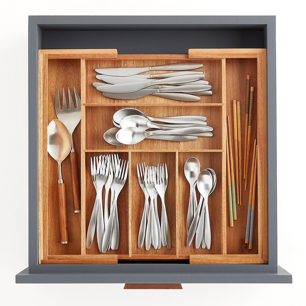 Expandable Acacia Silverware Tray