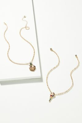 Anthropologie x Super Smalls Lock and Key Necklace Set