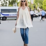 With a breezy Summer blouse and lace-up heels for those hot days