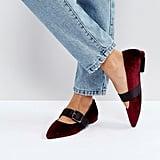 Bershka Velvet Buckle Flat Shoe