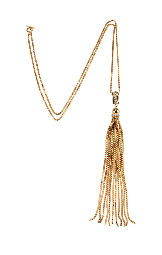 How gorgeous would this House of Lavande gold tassel necklace ($450) look with a deep V-neck dress or top?