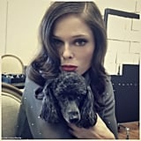 Coco Rocha snuggled with one of Zac Posen's dogs, Tina Turner. Source: Coco Rocha on WhoSay