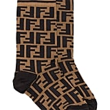 Fendi Brown and Black FF Logo Cotton Socks