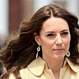 Less-expensive baubles were debuted on Kate's arrival to Bhutan — the gold-plated Brora earrings cost $50. The duchess also wore them for a dinner later on the tour and to Wimbledon.